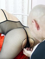 Asian Av Lingerie - Yurika Gotou Asian has pussy fucked from behind through fishnets