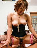 Japanese Av Group Videos - Mei Hitomi Asian with cans out of corset sucks and rides shlong