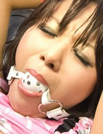 Hot Asian Av Videos - Haruka Uchiyama with ball in mouth gets vibrator on hairy pussy