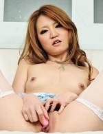 Asian 69 Lesbians - Adorable Sakamoto Hikari in blue satin toys her trimmed pussy