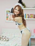 Hot Japanese Av Videos - French maid Sakamoto Hikari on her knees eating cock