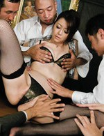 Japanese Av Handjob - Three stiff dicks rip apart Maki Hojo's mouth and pussy