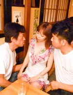 Asian 69 Threesome - Minami Kitagawa Asian with hot bum has tits sucked and gets dildo