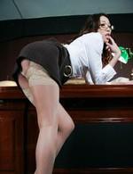 Japanese Av Public Sex Videos - Seductive secretary Ibuki in nylon gets a facial on her glasses