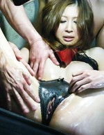 Av Group Porn - Rika Aina Asian with mask on eyes has cunt fondled through panty