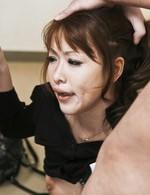 Japanese Av Teen Videos - Rika Kurachi Asian in fishnet stockings sucks two hard dicks