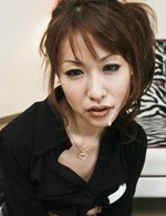 Asian 69 Cum - Rika Kurachi Asian in fishnet stockings sucks two hard dicks