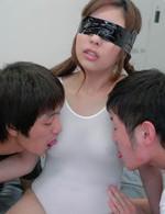 Japanese Av Double Penetration - Ami Kurosawa Asian is fucked in cunt through hole in nylon body