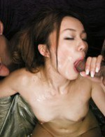 Asian 69 Facial - Sakura Hirota Asian gets dick in slit while licks another boner