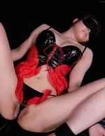 Asian Av Amateur - China Mimura Asian in latex corset gets vibrator over latex thong