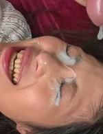 Japanese Av Teen - Aoi Miyama gets cum on eyes after stroking and sucking shlongs