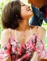 Japanese Av Schoolgirl - Minami Asano sucks and rides phallus with hairy cunt outdoor