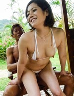 Asian Av Outdoor - Minami Asano sucks and rides phallus with hairy cunt outdoor