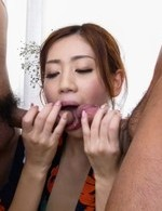 Hot Asian Av Models - Kaori Maeda Asian is fucked in cunt and mouth by licked boners