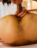 Asian 69 Hardcore - Karen Misaki Asian with hairy pussy gets dong between dark labia