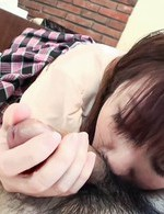 Asian 69 Hairy Pussy - Hiromi Asian with tits out of shirt is strongly pumped in peach