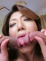 Japanese Av Lesbian Videos - Reina Nishio Asian sucks two dicks and gets two fingers in pussy