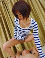 Asian Av Gangbang - Nene Mashiro Asian in streaky blouse masturbates cock to sperm