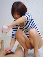 Asian 69 Bukkake - Nene Mashiro Asian in streaky blouse masturbates cock to sperm